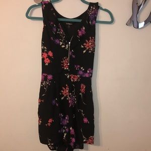 Floral Romper with Front Zipper